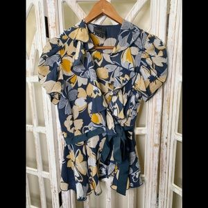 Anna Sui for Anthropologie floral wrap blouse 2